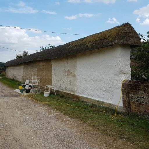 Limewashed cob wall